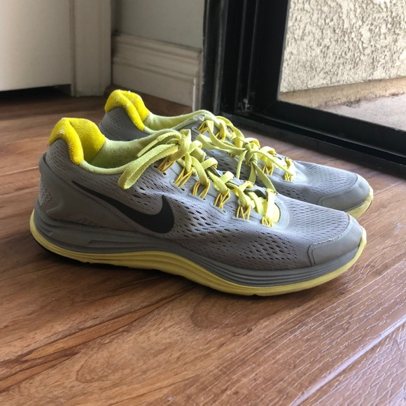 Grey And Yellow Nike Running Shoes